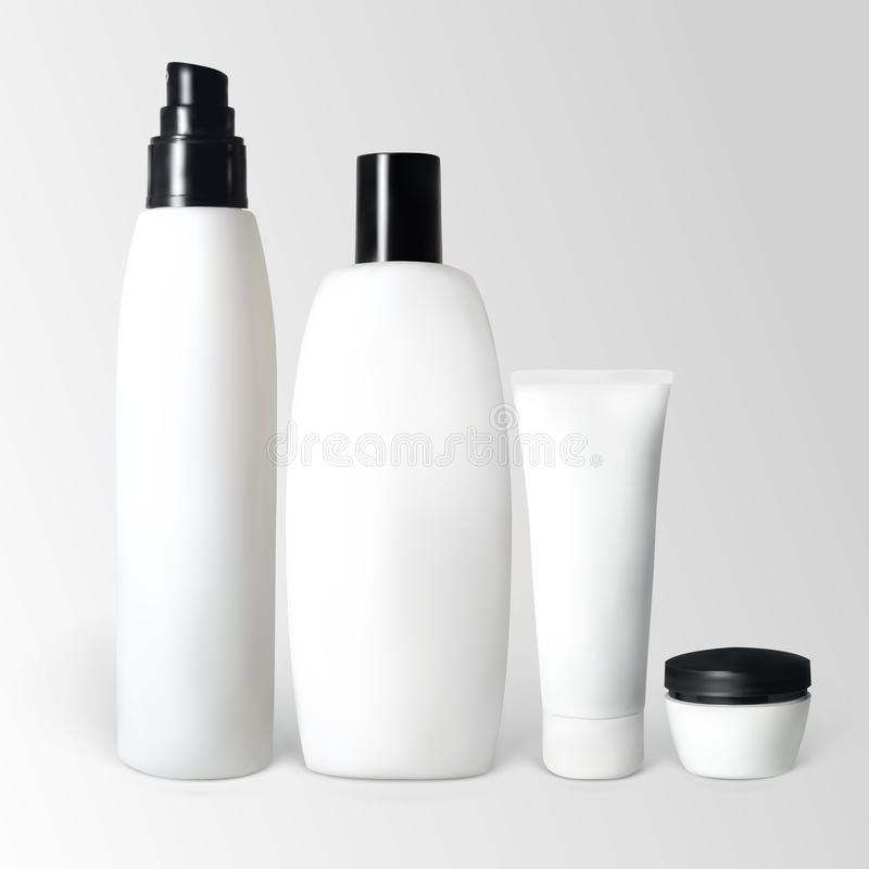 Set of cosmetic products. In bottles and tubes. Illustration contains gradient meshes royalty free illustration