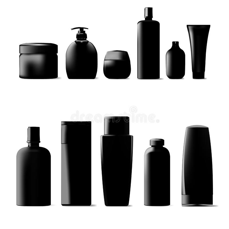 Set Of Cosmetic Products Package. Collection Of Cream, Soup, Foams, Shampoo. Set Of Black Cosmetic Products Package. Collection Of Cream, Soup, Foams, Shampoo stock illustration