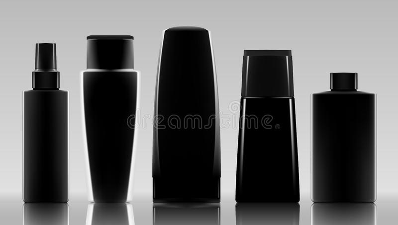 Set Of Cosmetic Products Package. Collection Of Cream, Soup, Foams, Shampoo. Set Of Black Cosmetic Products Package. Collection Of Cream, Soup, Foams, Shampoo vector illustration