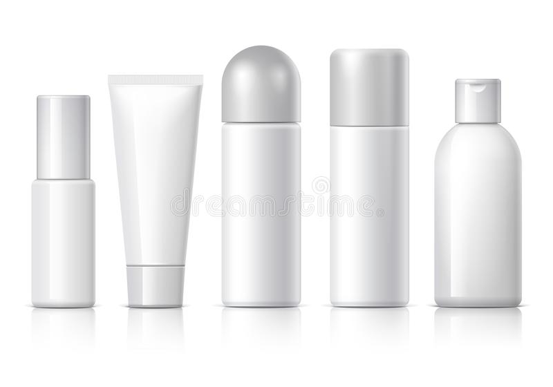 Realistic Cosmetic bottle can sprayer container. Set of cosmetic products on a white background. Cosmetic package collection for cream, soups, foams, shampoo vector illustration