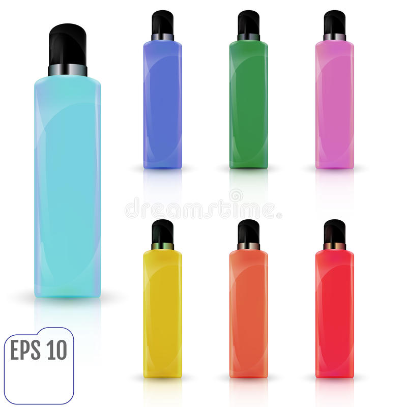 Set of cosmetic products on a white background. Cosmetic package stock illustration