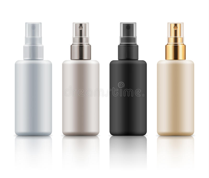 Set of cosmetic spray bottles stock illustration