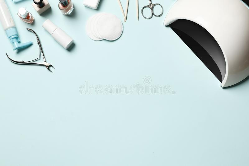 Cosmetic tools for manicure and pedicure stock photos