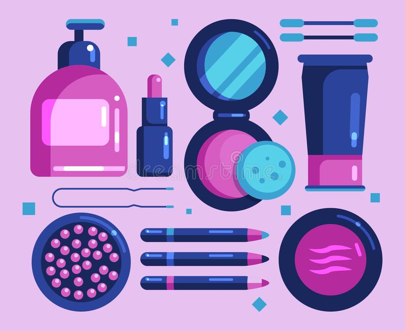 Female cosmetics for the face, flat icons set vector illustration