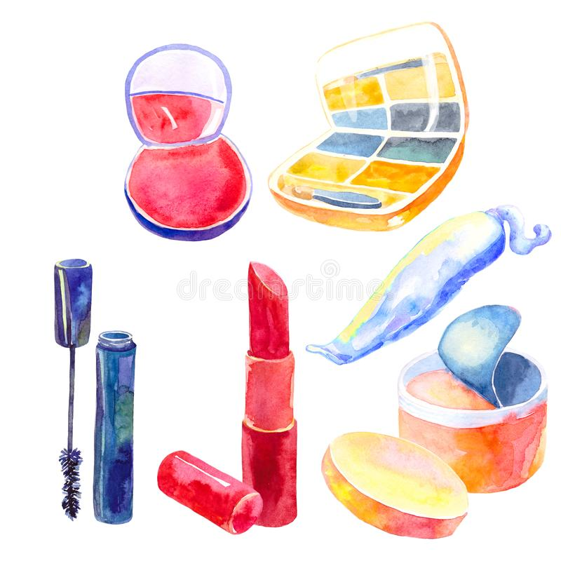 Set of cosmetics for the face of women and girls. watercolor illustration royalty free stock photo