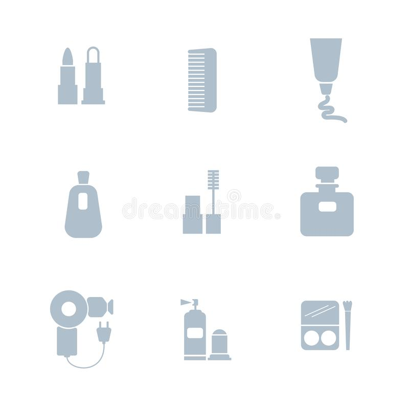 Set of cosmetics icons. Includes symbols such as lipstick, mascara, perfume, deodorant, comb, hair dryer, cream. Beauty concept. Can be used for web, mobile stock illustration