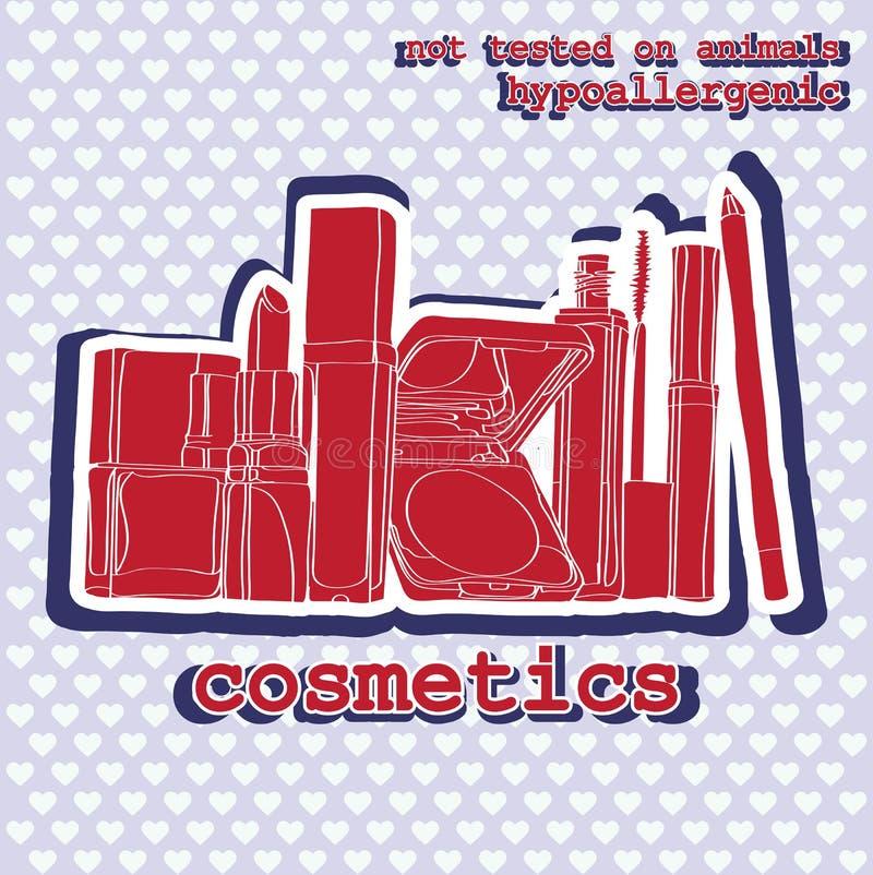 Set of cosmetics. sticker royalty free illustration