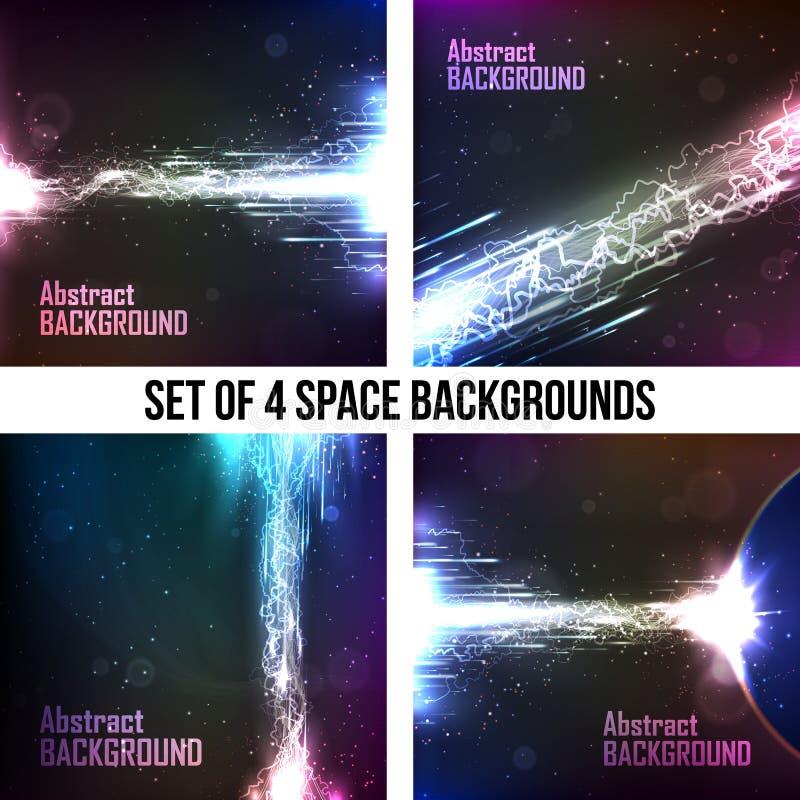 Set of 4 cosmic background, energy flow vector illustration