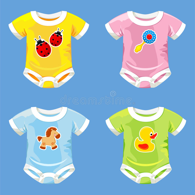 Set of costumes for babies stock illustration