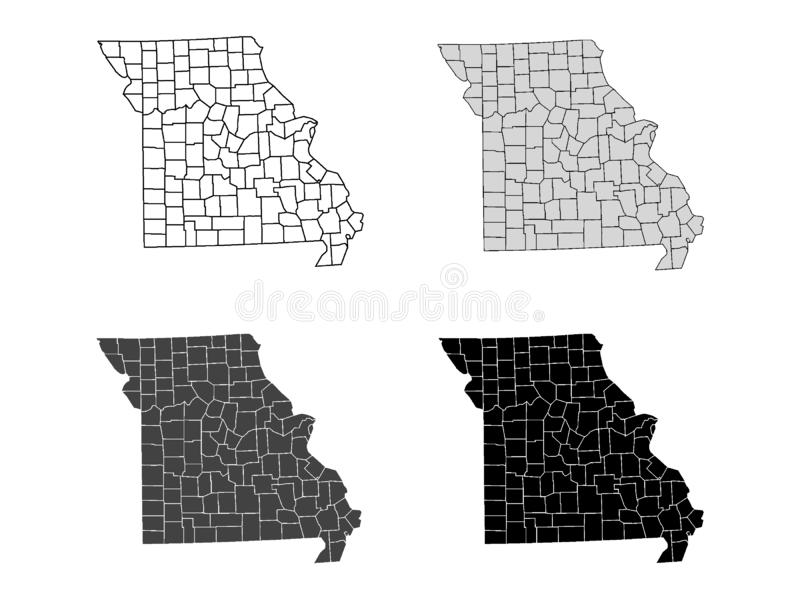 Set of Counties Maps of US State of Missouri. Vector illustration of the Counties Map of US State of Missouri vector illustration