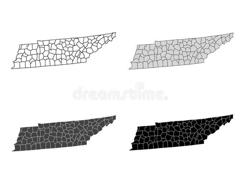 Set of Counties Maps of US State of Tennessee. Vector illustration of the Set of Counties Maps of US State of Tennessee stock illustration