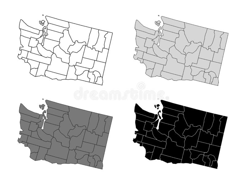 Set of Counties Maps of US State of Washington. Vector illustration of the Set of Counties Maps of US State of Washington stock illustration