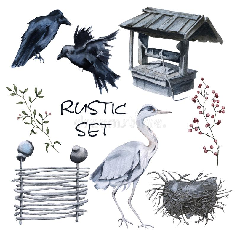 Set of country elements. Two crows, a heron with a nest, a wattle fence, a well. Isolated on white background. Watercolor illustration vector illustration
