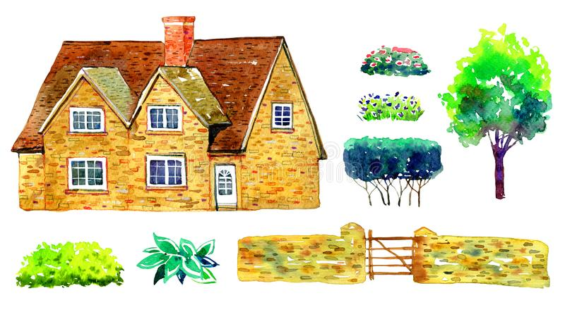 Set with countryhouse, tree, fence, bushes and plants. Watercolor old stone Europe house. Hand drawn illustration royalty free illustration