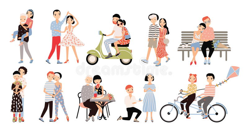 Set of couple in love. Different romantic situations walking, speaking, cycling, hugging, marriage proposal, dance, ride stock illustration
