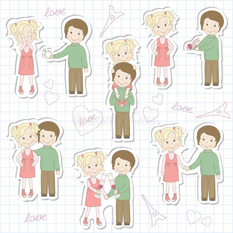Set Of Couple Teens On Sheet Of School Notebook Stock Photo
