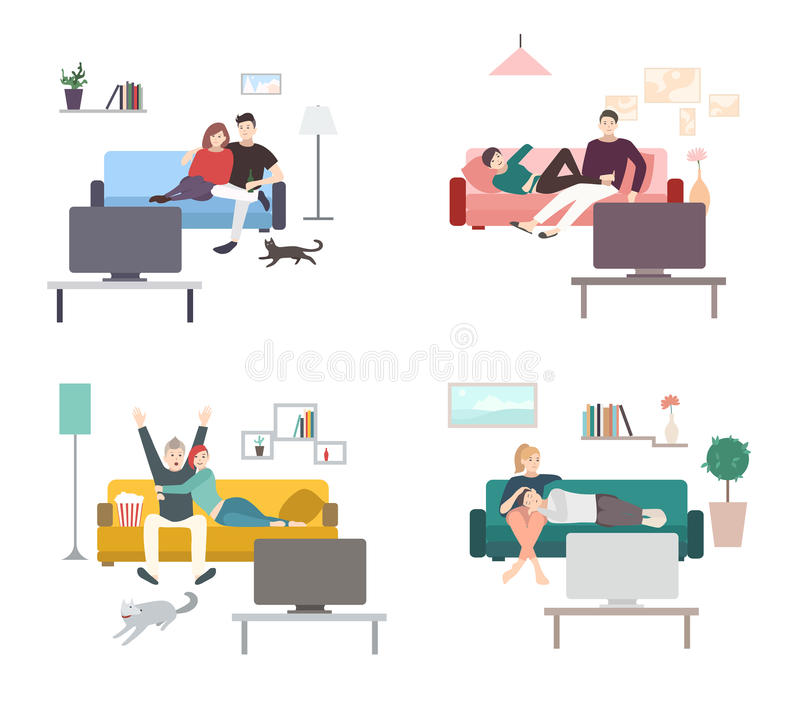 Set of a couple watches TV. Flat colorful illustration. People, men and women in living room, leisure. Set of a couple watches TV. Flat colorful illustration vector illustration