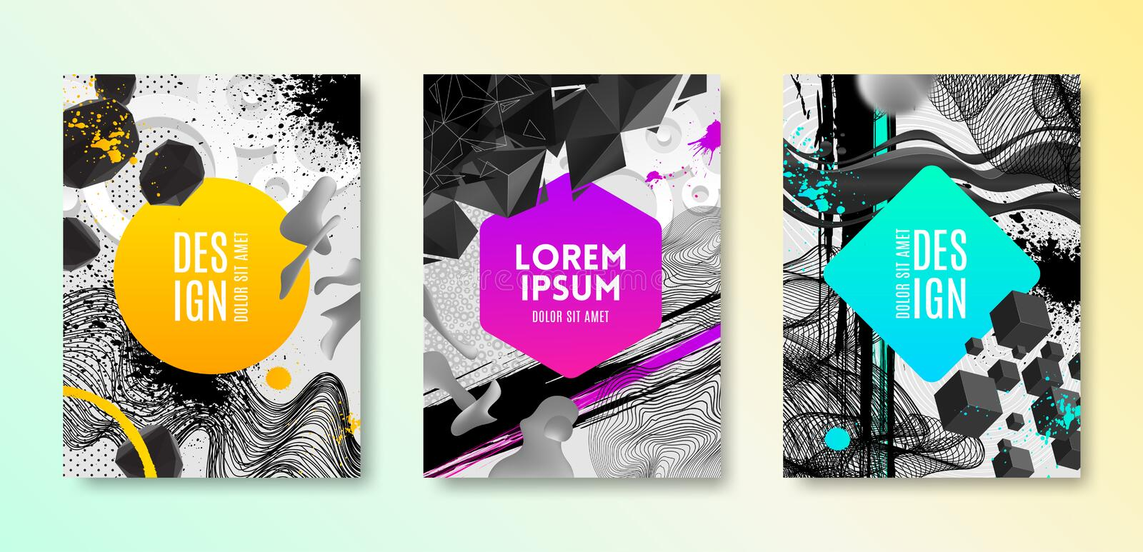 Set of cover design with abstract different shapes. Vector illustration template. vector illustration