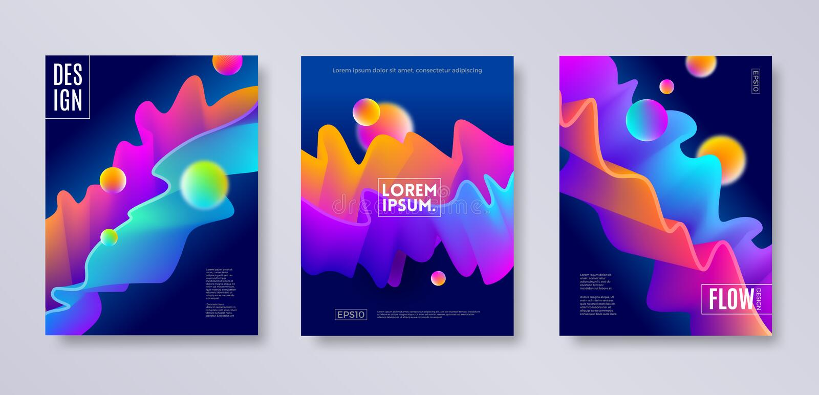 Set of cover design with abstract multicolored flow shapes. Vector illustration template. Universal abstract design for covers, flyers, banners, greeting card royalty free illustration