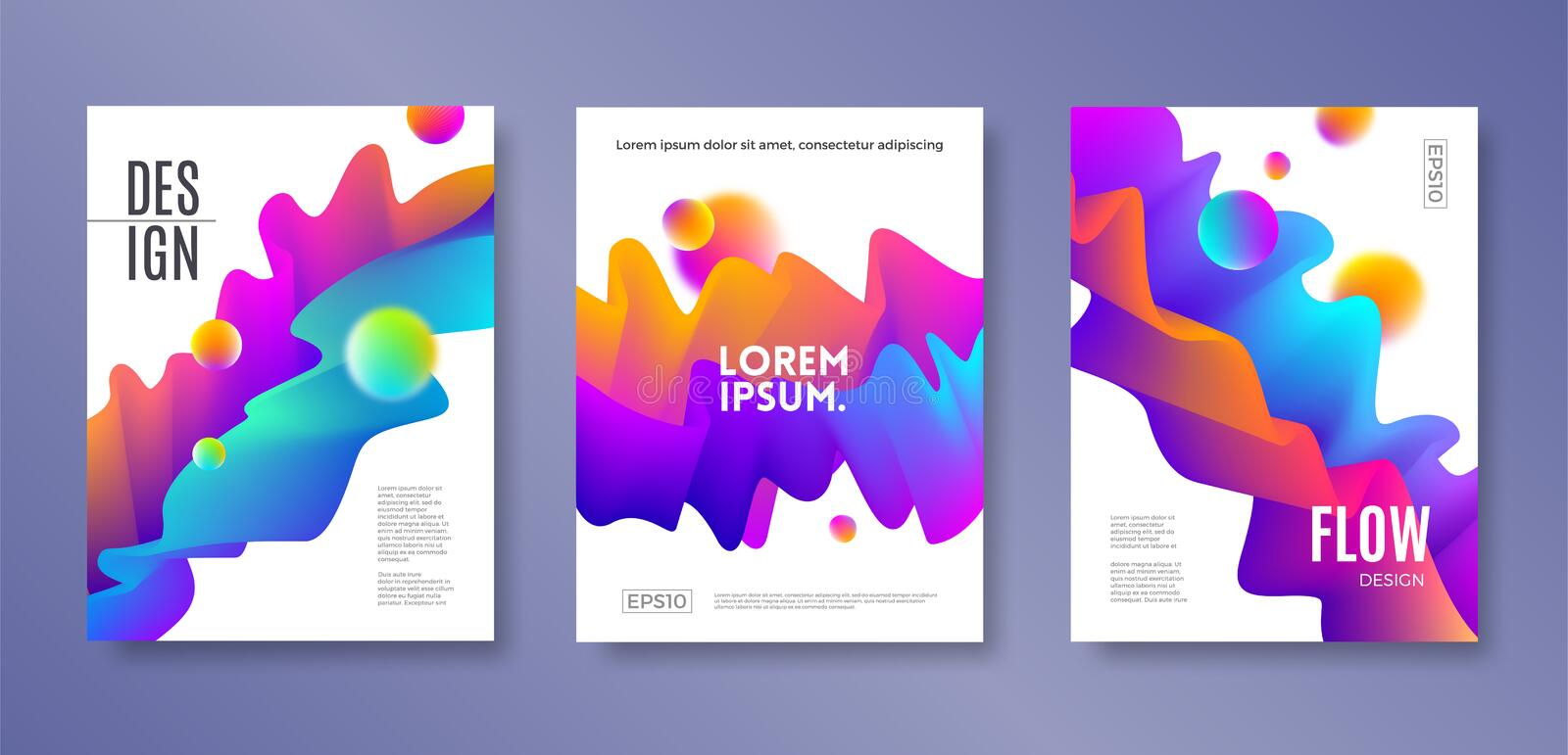 Set of cover design with abstract multicolored flow shapes. Vector illustration template. Universal abstract design for covers stock illustration