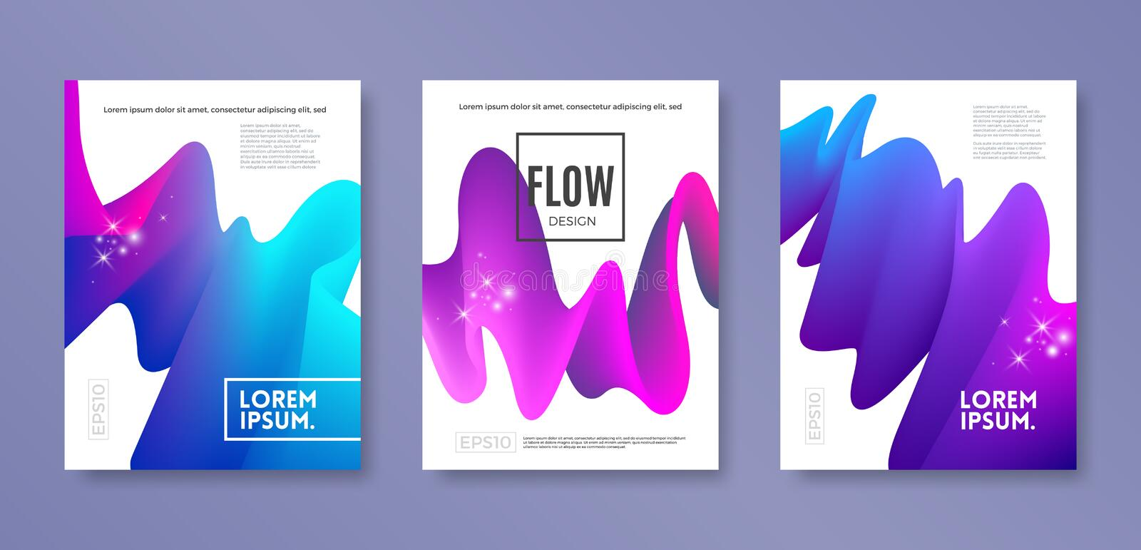 Set of cover design with abstract multicolored flow shapes. Vector illustration template. Universal abstract design for covers royalty free illustration
