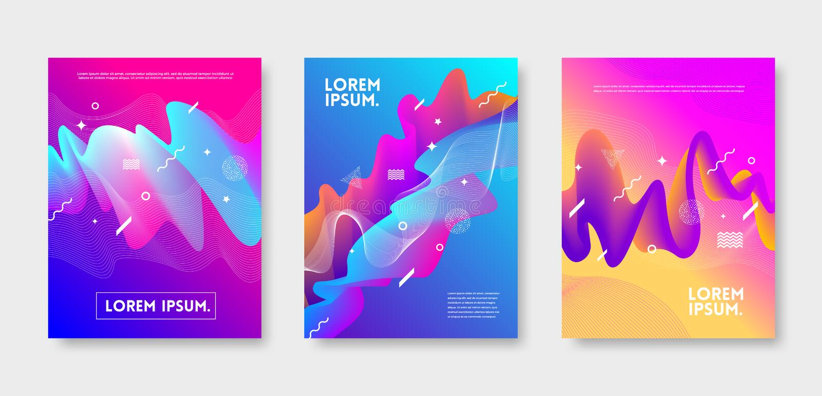 Set of cover design with abstract multicolored flow shapes. Vector illustration template. Universal abstract design for covers. Flyers, banners, greeting card stock illustration
