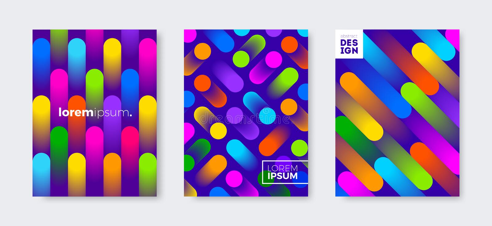Set of cover design with abstract multicolored gradient shapes. Vector illustration template. Universal abstract design. stock illustration