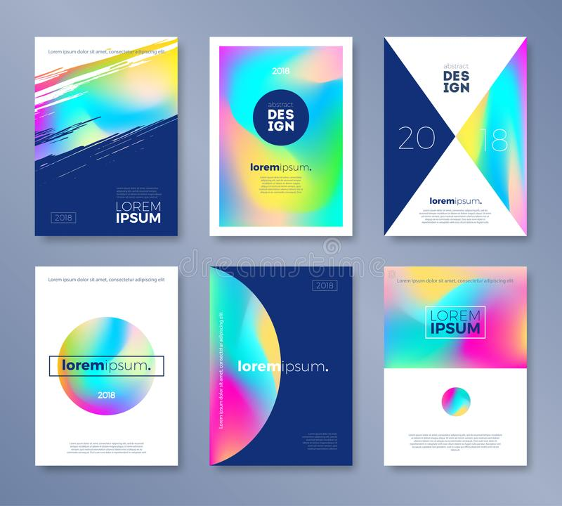 Set of cover design with abstract multicolored shapes. Vector illustration template. Universal abstract design for covers. stock illustration
