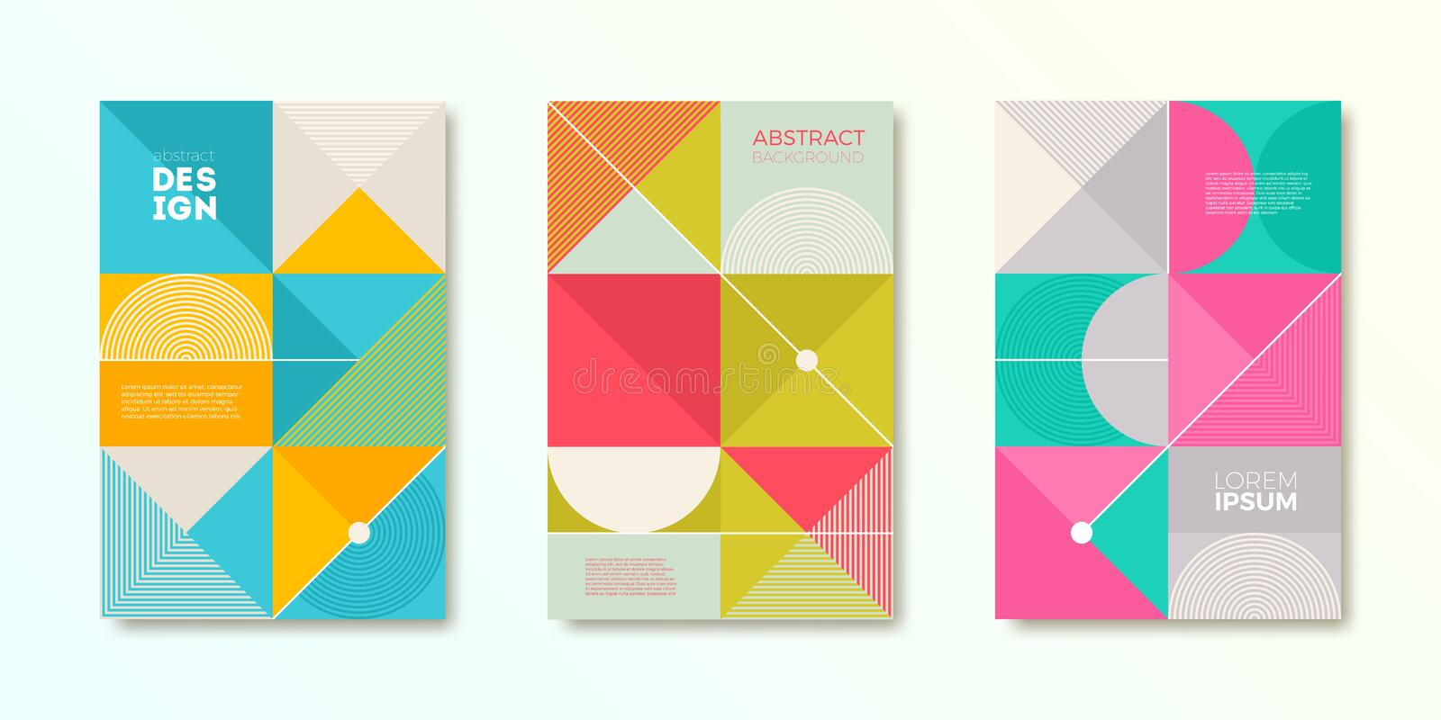 Set of cover design with simple abstract geometric shapes. Vector illustration template. vector illustration