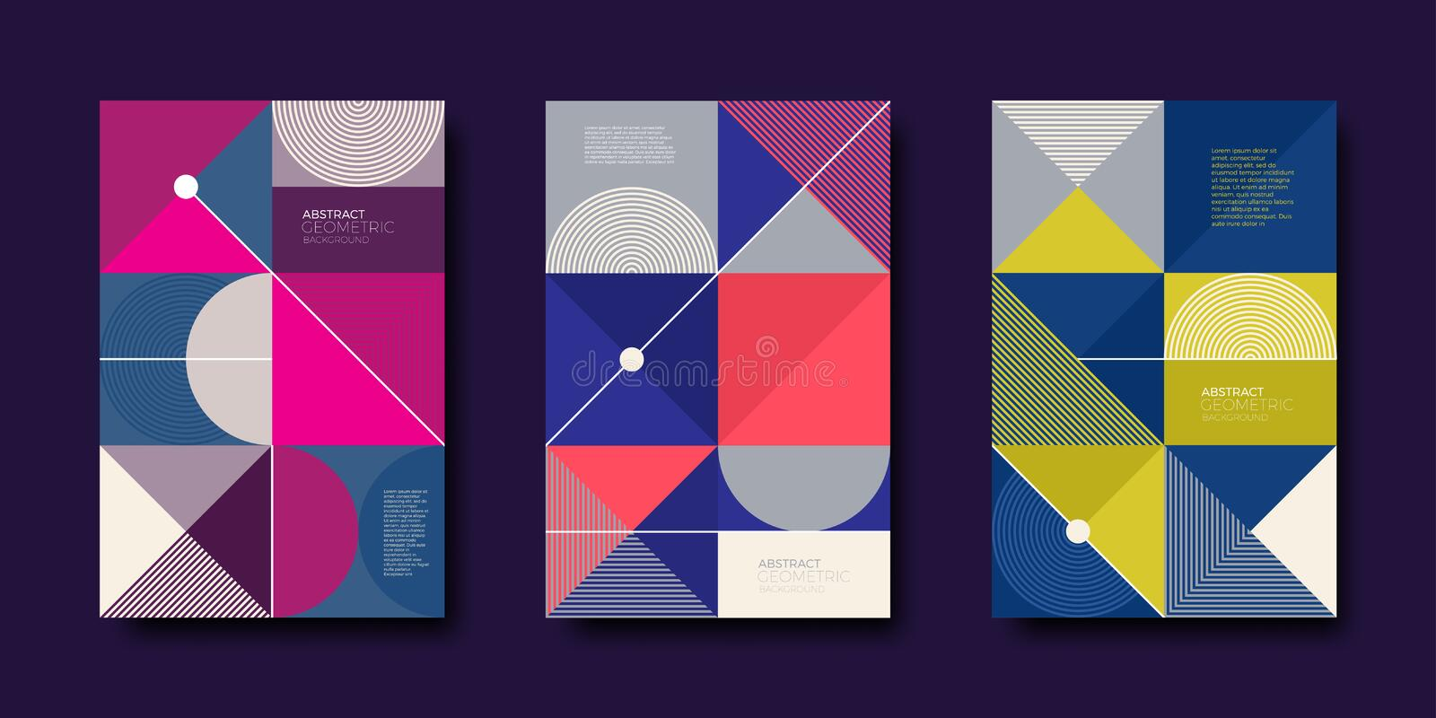 Set of cover design with simple abstract geometric shapes. Vector illustration template. Universal abstract design for covers, flyers, banners, greeting card stock illustration