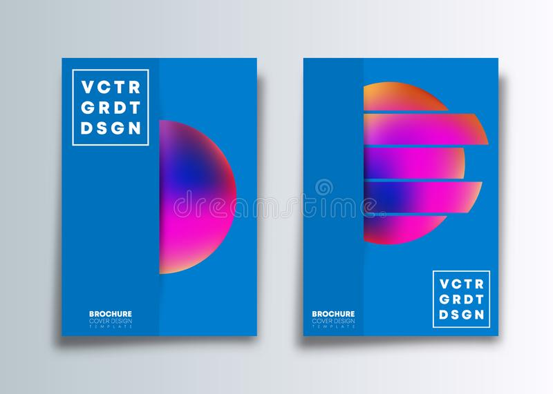 Set of the cover template with colorful gradient circle design for flyer, poster, brochure, typography or other printing products vector illustration