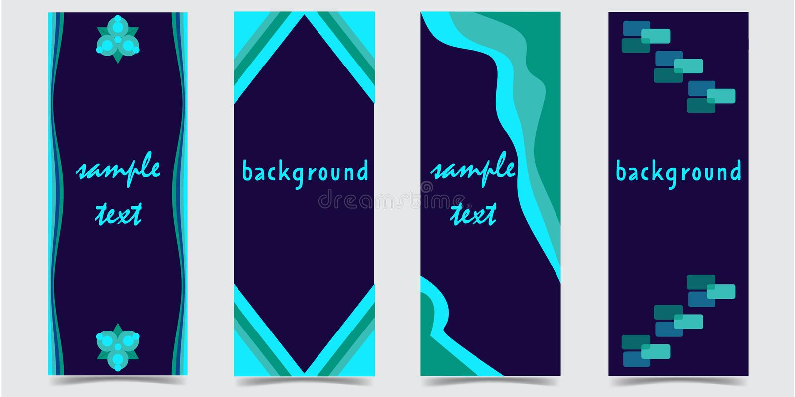Set of covers with abstract green shapes on dark blue background vector illustration