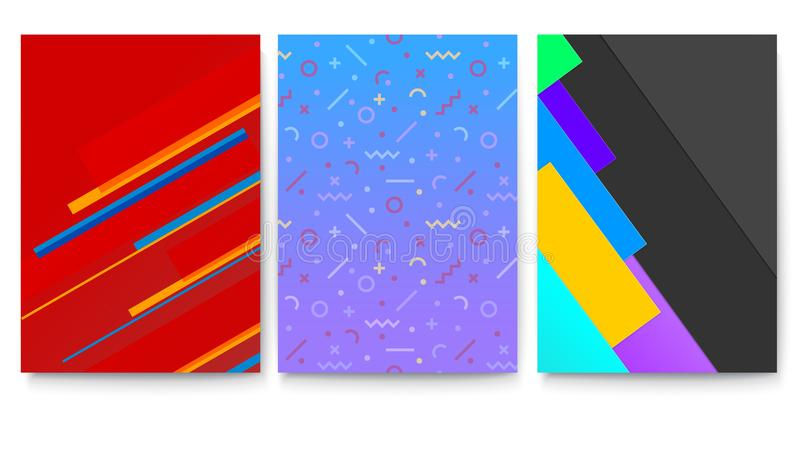 Set of covers with geometric colored shapes. Modern background with abstract patterns with different shapes for banners vector illustration