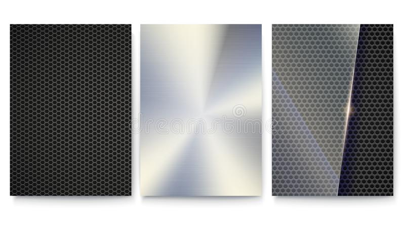 Set of covers with metal surfaces. Vector template of poster. Background with metal mesh, plate and glass for banners vector illustration