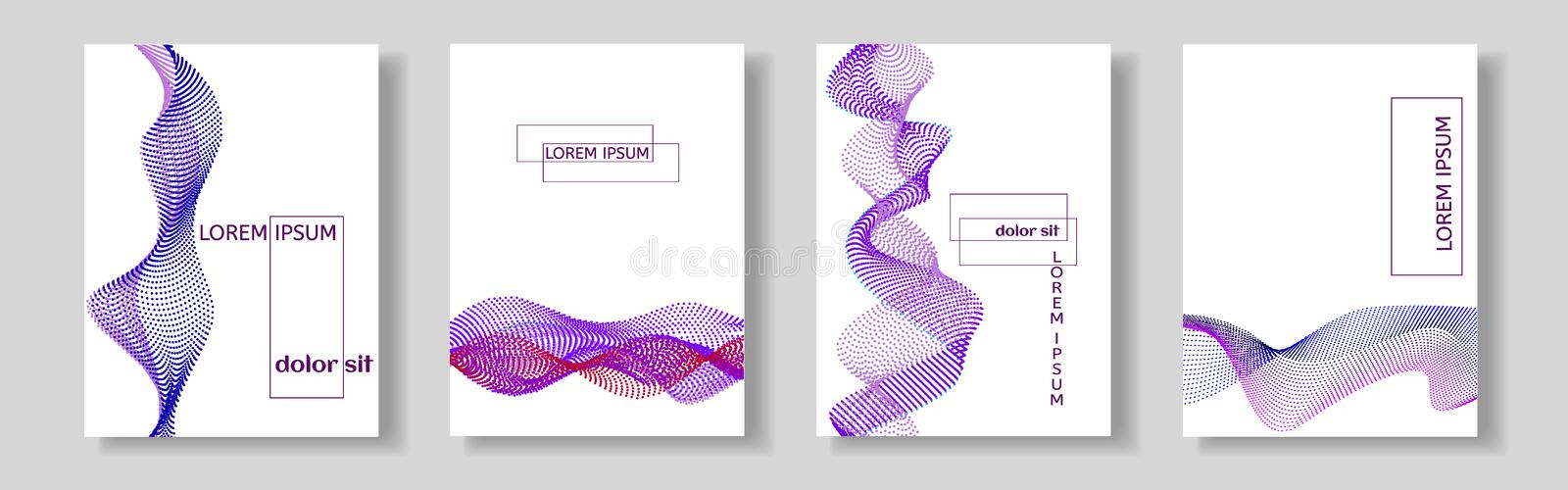 Set of covers with purple wave of the many colored lines. Abstract wavy stripes on a white background isolated. royalty free illustration