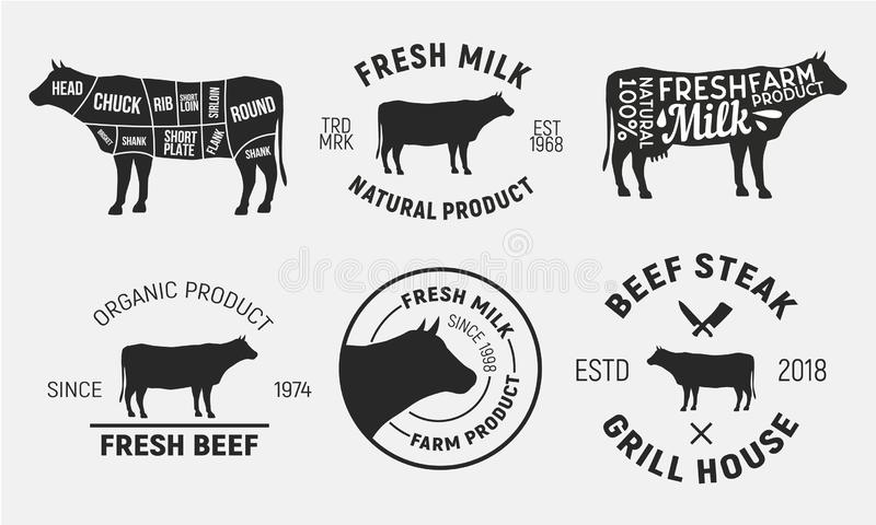 Cow emblems. Set of 6 cow, beef emblems and posters. Vintage style. Vector illustration. Set of 6 cow, beef emblems and posters. Vintage style. Vector royalty free illustration