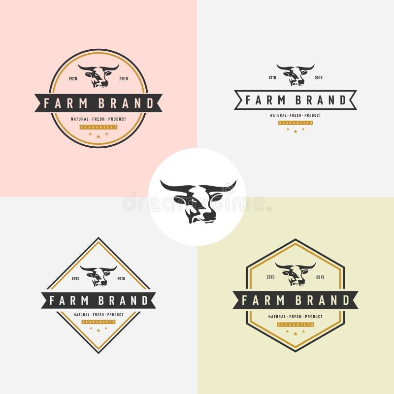 set of Cow head silhouette emblem logo Vector illustration royalty free illustration