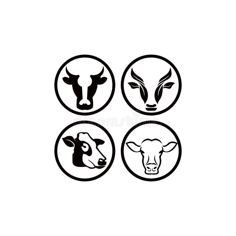 Cow head stylized symbol, cow portrait. Silhouette of farm animal, cattle. Emblem, logo or label for design. Vector illustration. stock illustration