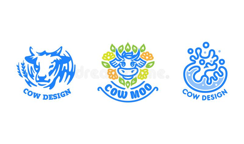 Set of cow logos. Set of cow logos, milk and dairy products royalty free illustration