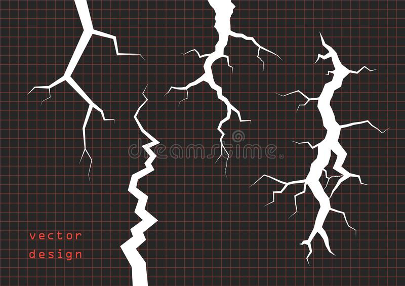 Set of cracks. The rift the schism the ice, or wall plaster. Vector overlay elements, on an  dark background. Eps stock illustration