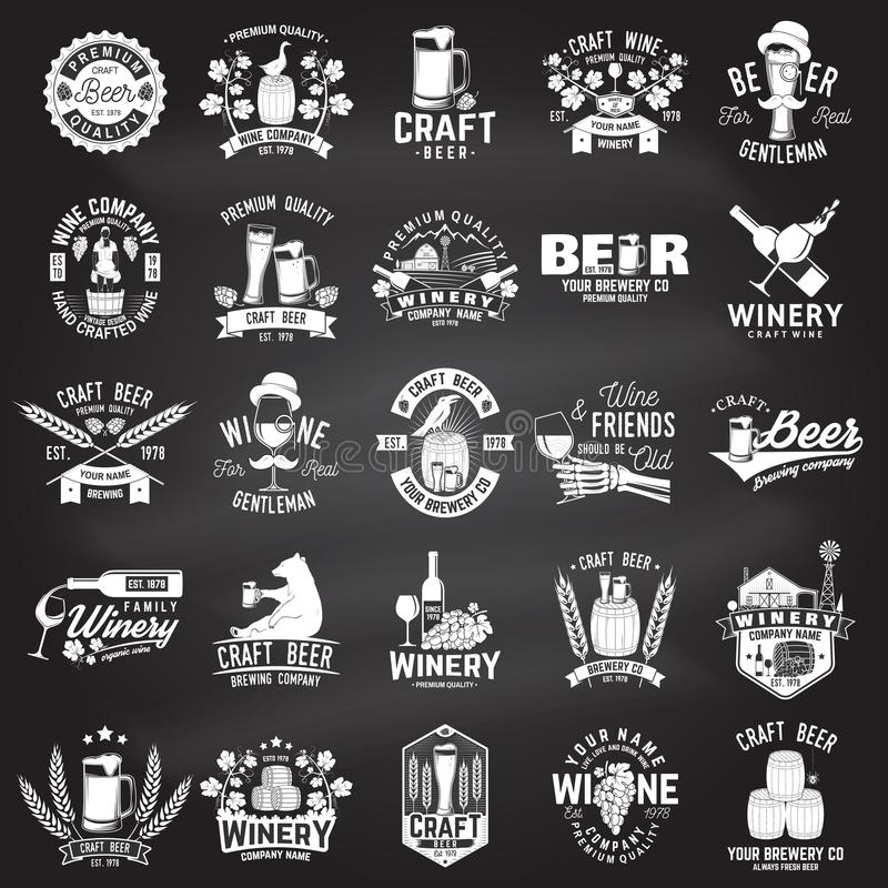 Set of Craft Beer and Winery company badge, sign or label. Vector illustration vector illustration