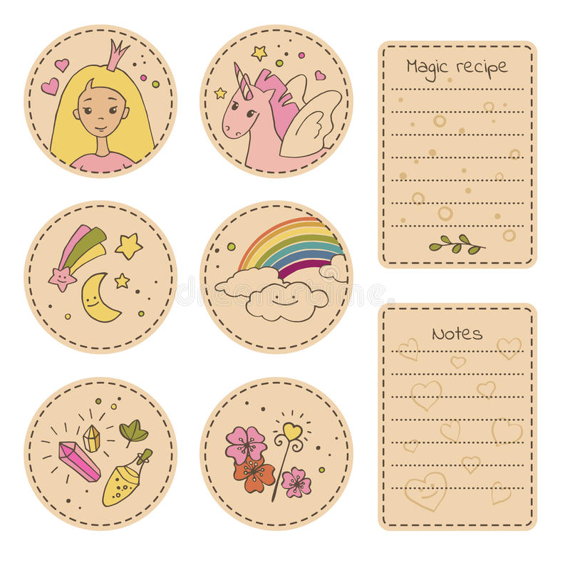 Set of craft stickers with cute cartoon characters and magical items. vector illustration