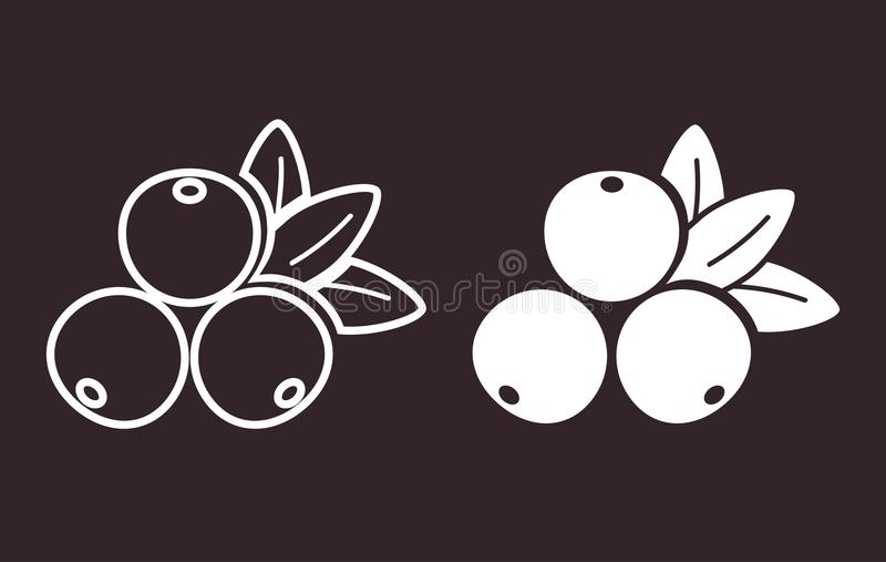 Set of cranberries/ cowberry/ lingonberry/ red whortleberry/foxberry flat icon stock illustration