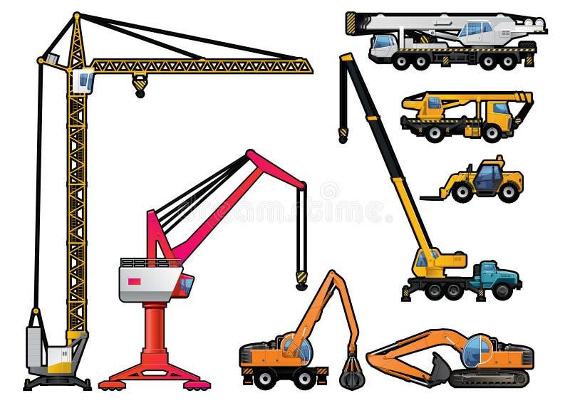 Set of cranes, forklift and excavator. stock illustration