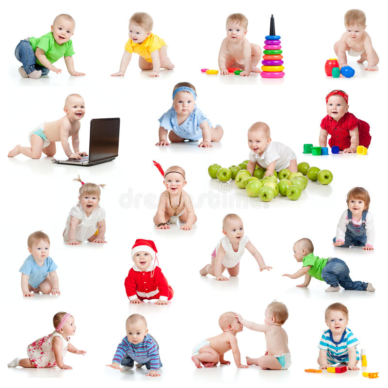 Set of crawling babies or toddlers with toys. On white background royalty free stock photo