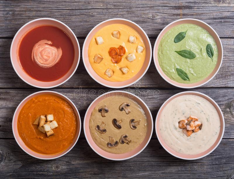 Set of cream soups stock image
