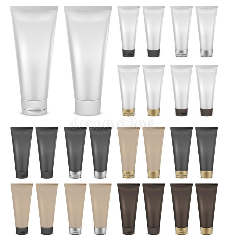 Set of cream tube mockups stock illustration