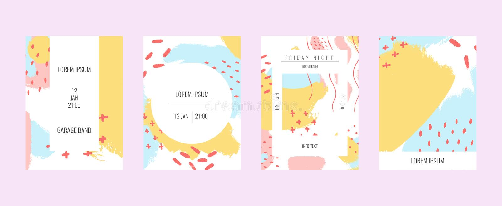 Set of creative banners with handmade abstract textural background. Vector design in pastel colors for banner, art. Poster, cover, flyer, brochure, wallpaper royalty free illustration