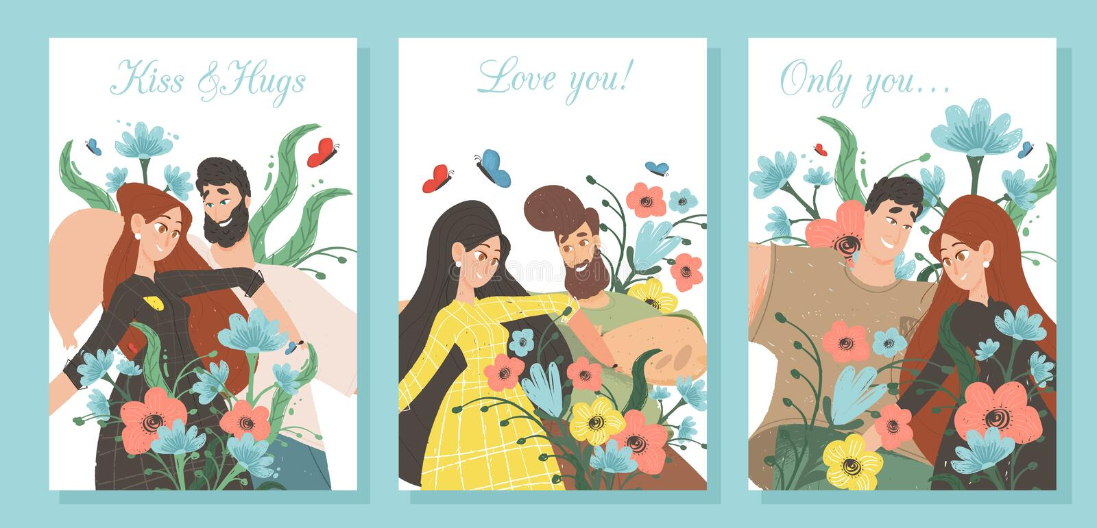 Set of Creative Banners for Loving Couple Dating. Set Creative Banners for Loving Couple. Man and Woman in Love on Colorful Background with Vibrant Flowers royalty free illustration