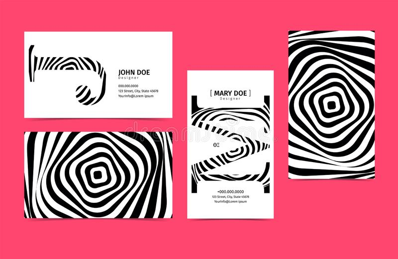 Set of Creative 90x50 Business Card Template. Black and white Colors. Font as illustration. Vector graphic stock illustration